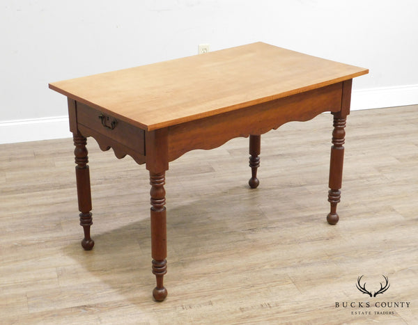 Antique Tiger Maple and Cherry Wood 2 Drawer Kitchen Island Table