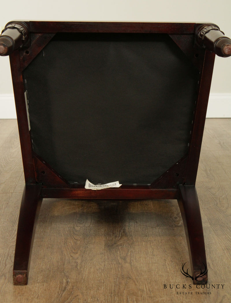 Regency Style Quality Set 8 Carved Mahogany Dining Chairs