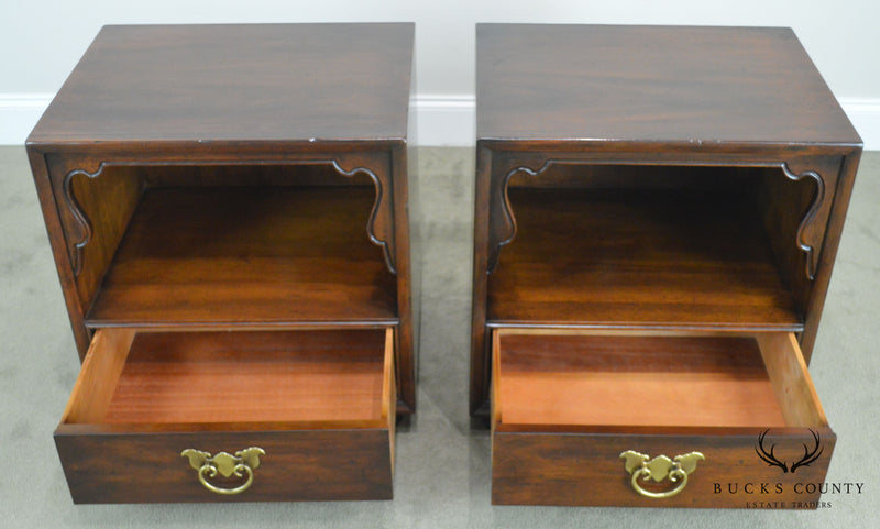 Henredon Folio Eleven Pair Mahogany Asian Inspired Nightstands