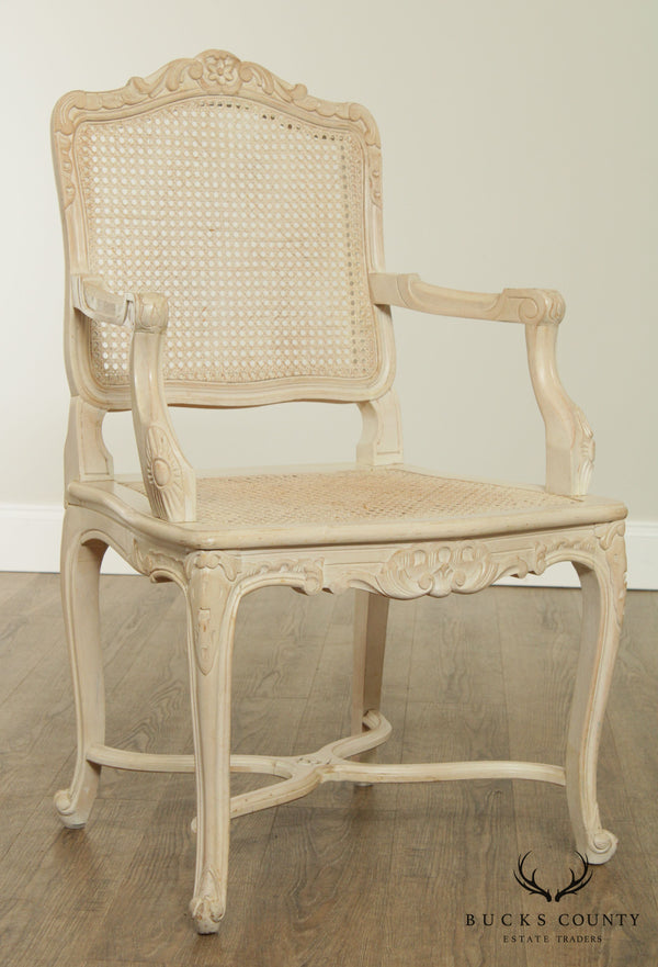 French Louis XV Style White Painted Cane Armchair