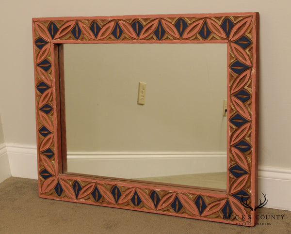 Vintage Mexican Carved Wood Carved Painted Wall Mirror