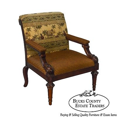 Century English Regency Style Wide Seat Arm Chair w/ Elephants & Monkey Fabric
