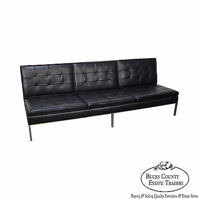 Florence Knoll Mid Century Modern Black Leather Chrome Frame Armless Sofa (A)