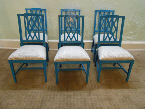 Hollywood Regency Set of 6 Custom Quality Painted Federal Style Dining Chairs