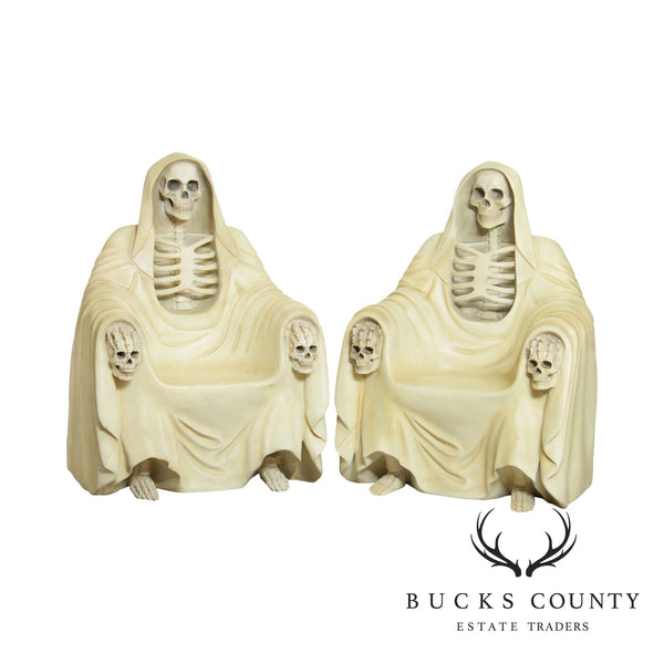 Grim Reaper Seated Skeleton Pair Gothic Throne Chairs