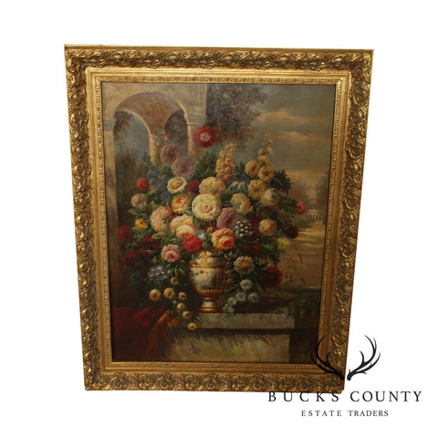 Large Gilt Frame Victorian Style Still Life Oil Painting Flowers in Vase
