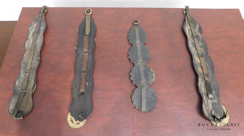 Antique Equestrian Collection of Leather Mounted Horse Bridle Medallions