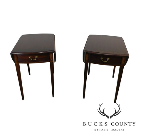 Hickory Chair Mahogany Federal Style Inlaid Pair Pembroke Side Tables