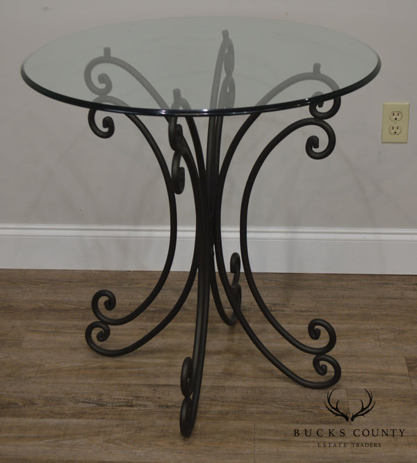 Wrought Iron Base Round Glass Top Bistro Dining Table