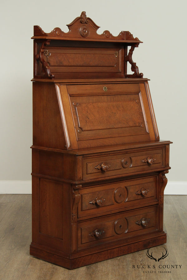Antique Victorian Walnut Slant Front Secretary Desk