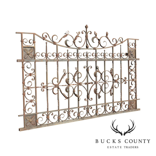 Quality Vintage Ornate Wrought Iron 8'x5' Fence/Gate Section (E)
