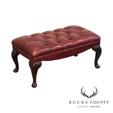 Queen Anne Style Vintage Tufted Leather Chesterfield Ottoman