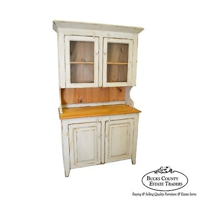 Farmhouse Primitive Style Custom Painted Step Back Cupboard