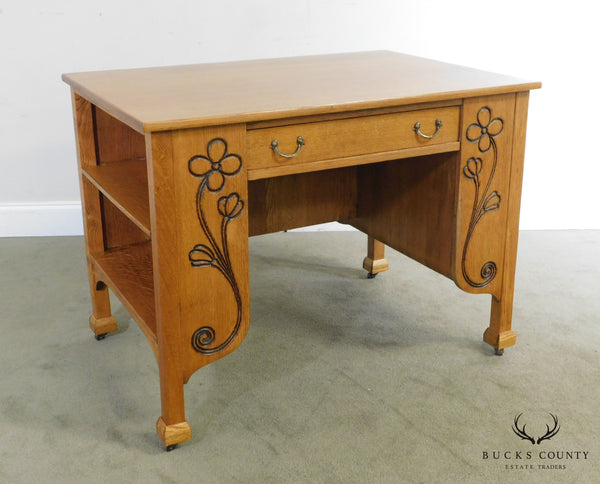 Hersee & Co. Arts and Crafts, Art Nouveau Oak Bookcase Writing Desk