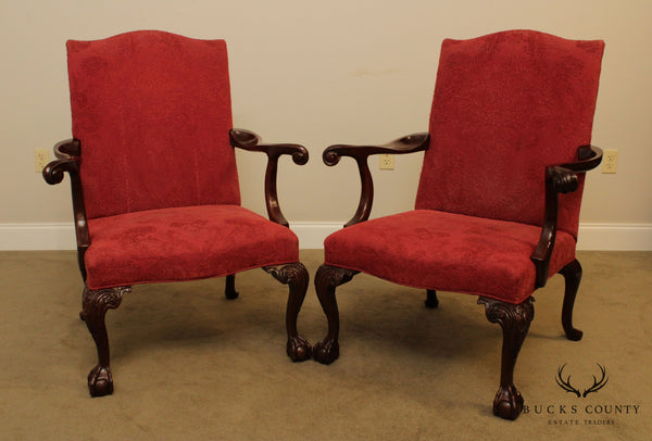 Southwood Chippendale Style Mahogany Ball & Claw Pair Armchairs