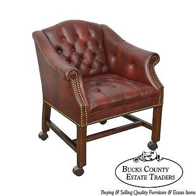 Chippendale Chesterfield Style Tufted Faux Leather Club Chair