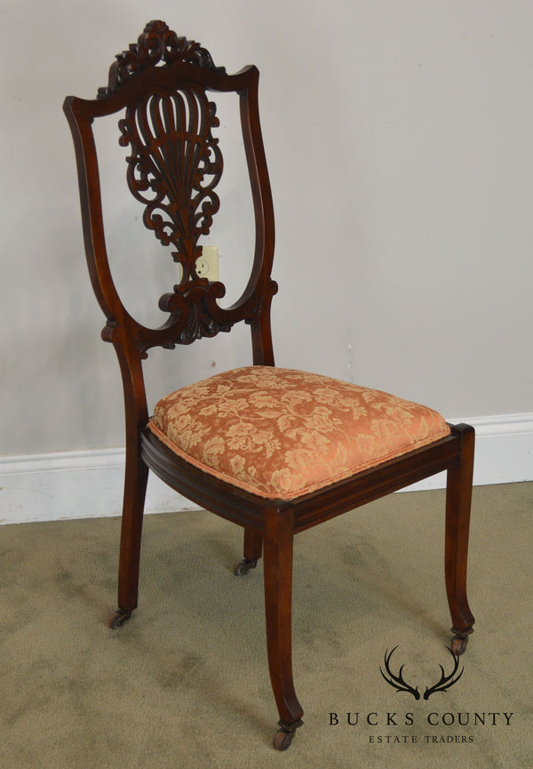 Antique Victorian Mahogany Pierced Carved Vanity or Desk Chair