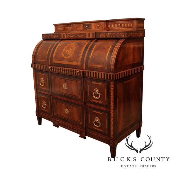 Exceptional Quality Continental Style Italian Marquetry Inlaid Cylinder Desk