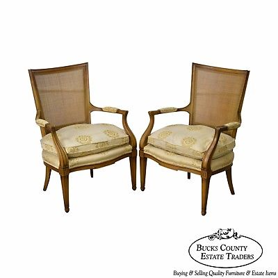 Widdicomb Mid Century Regency Directoire Pair of Fauteuils Arm Chairs