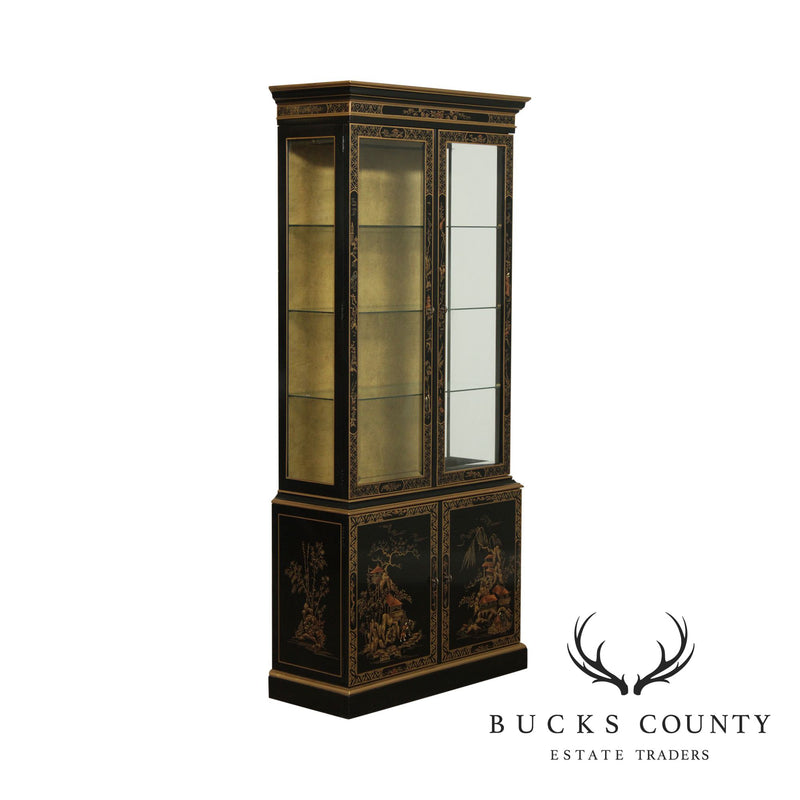 Drexel ET Cetera Black and Gold Chinoiserie Display Cabinet