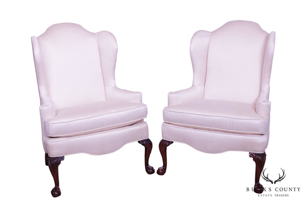Woodmark Chippendale Style Mahogany Ball and Claw Pair Wing Chairs