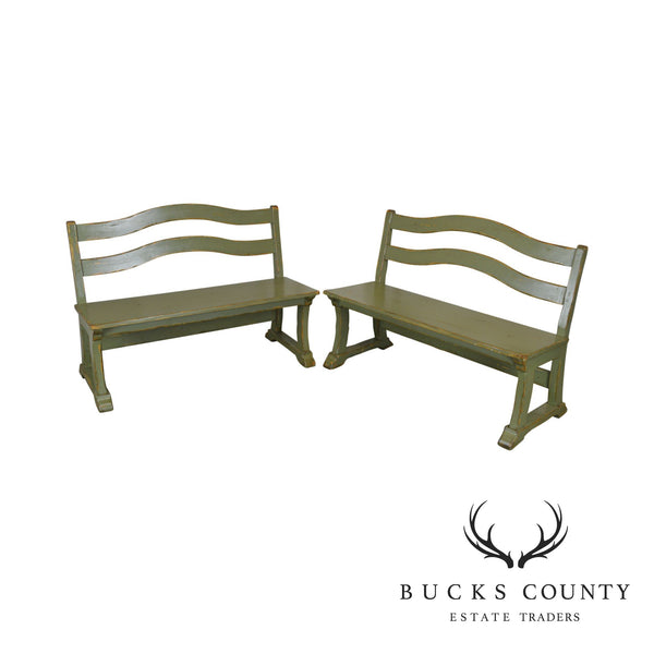 Woodland Furniture French Country Pair Green Painted Benches