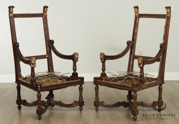 Antique Italian Renaissance Revival Carved Walnut Partial Gilt Pair Armchairs