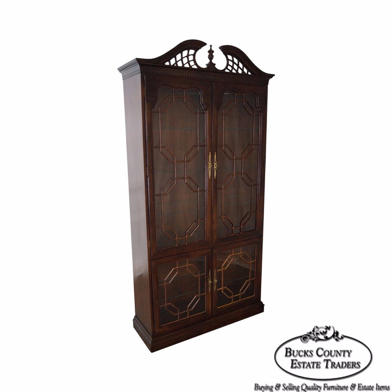 Thomasville Chippendale Style Tall Display Curio Cabinet
