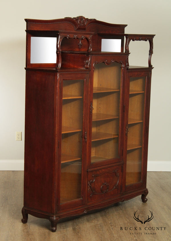 Antique Victorian Oak 3 Door Bookcase