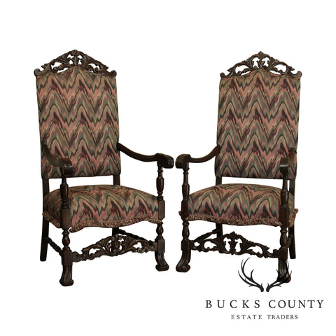 Antique Spanish Renaissance Revival Carved Walnut Pair Throne Armchairs