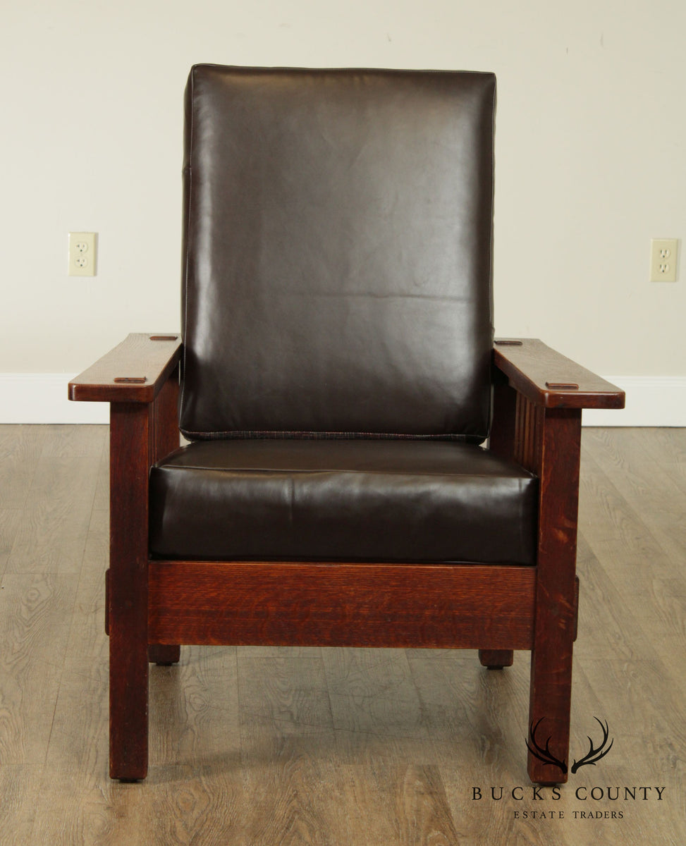 Stickley Brothers Antique Mission Oak Morris Chair Bucks