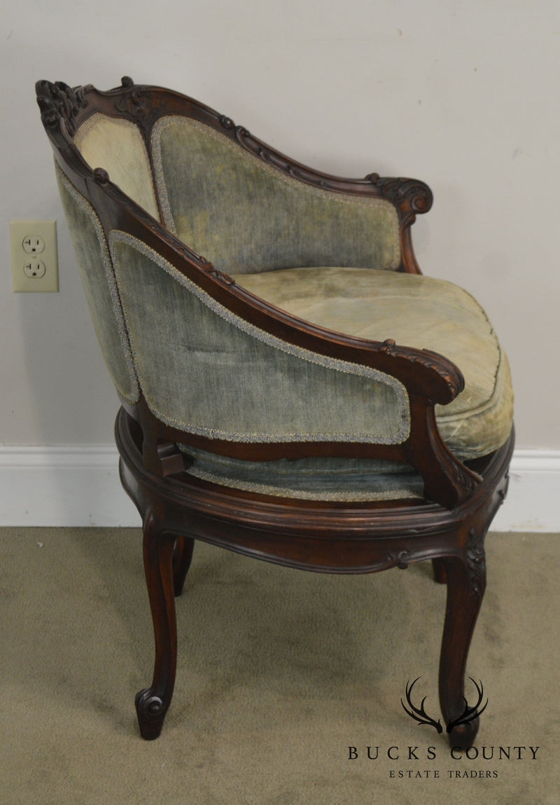 French Louis XV Vintage 1920's Carved Mahogany Bergere Chair