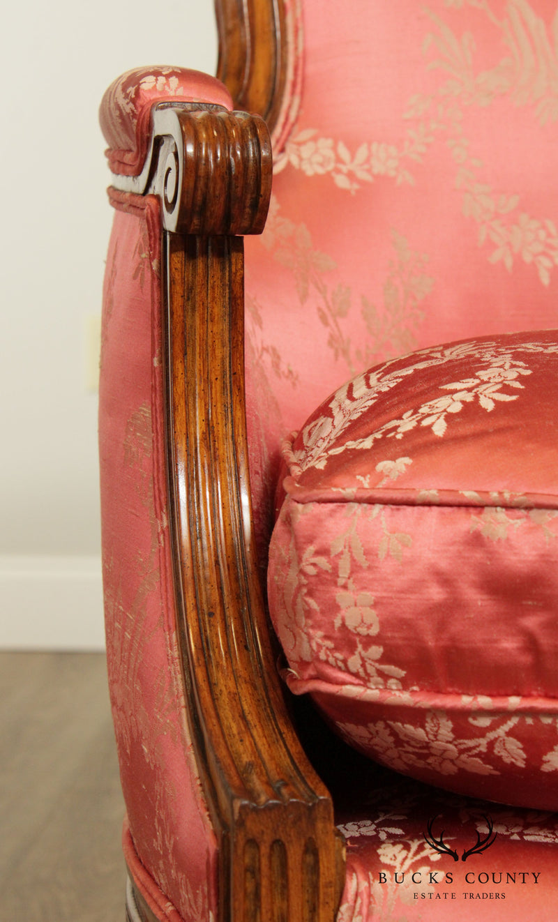 Custom Quality French Louis XVI Style Vintage Pair Bergere Chairs