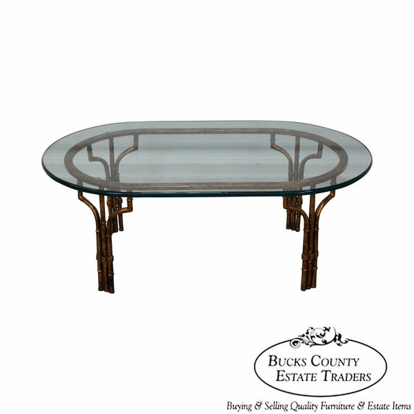 Hollywood Regency Italian Gilt Metal Faux Bamboo Glass Top Coffee Table