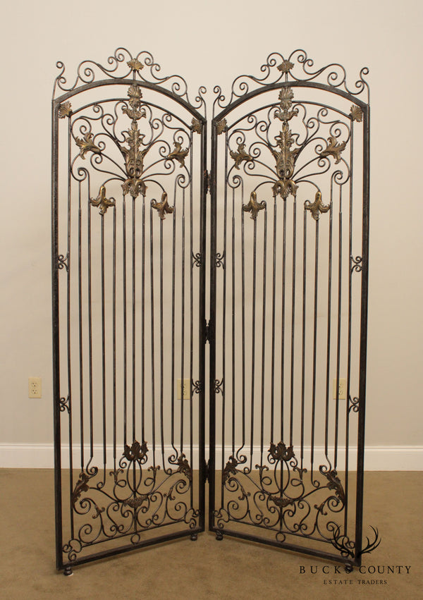 Maitland Smith Iron & Bronze Rococo Style 2 Panel Screen, Room Divider