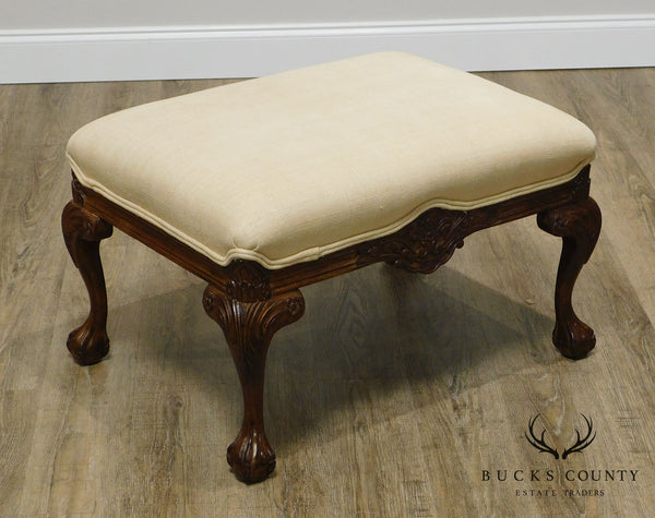 Sherrill Georgian Style Carved Claw Foot Ottoman