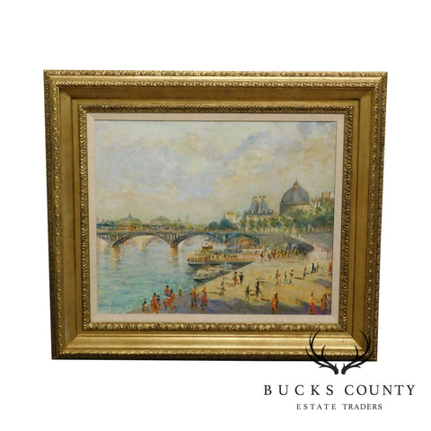 "Luciano Rampaso ""Pont de Arts"" Oil on Canvas Impressionist Painting Custom Frame"