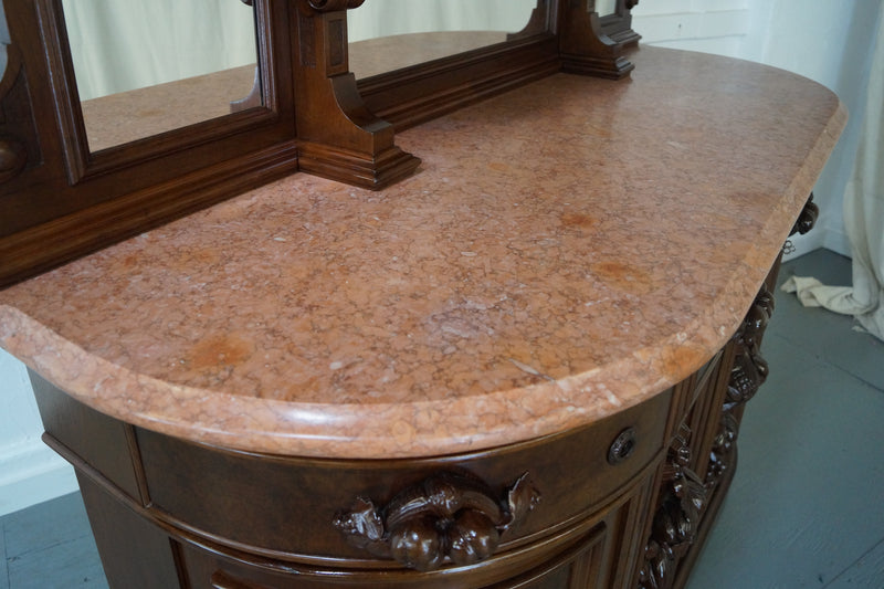 Fine American Walnut Antique Victorian Marble Top Sideboard