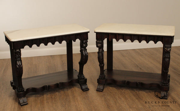 Antique 19th Century Anglo Indian Renaissance Carved Rosewood Marble Top Consoles Tables