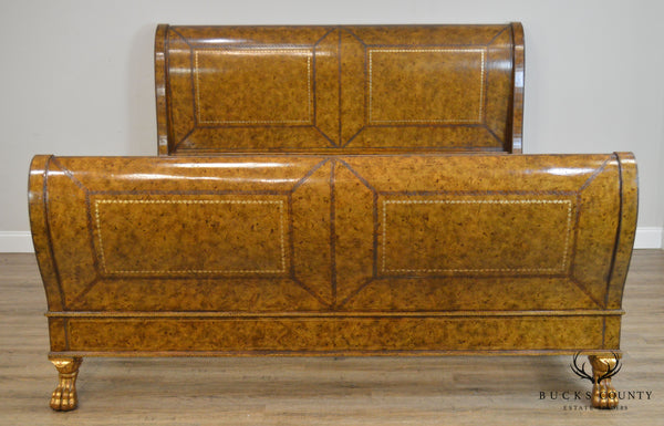Maitland Smith French Empire Style Tooled Leather Wrapped King Sleigh Bed