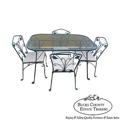 Salterini Wrought Iron Art Nouveau Patio 5 Piece Table & Chairs Dining Set
