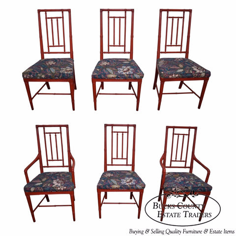 Vintage Set of 6 Faux Bamboo Painted Dining Chairs by Drexel Heritage