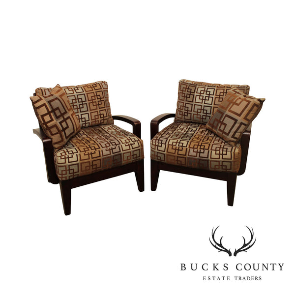 Modern Style Pair Geometric Print Lounge Chairs