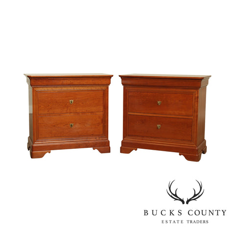 Stickley Louis Philippe Style La Rochelle Cherry Pair Nightstands Chests