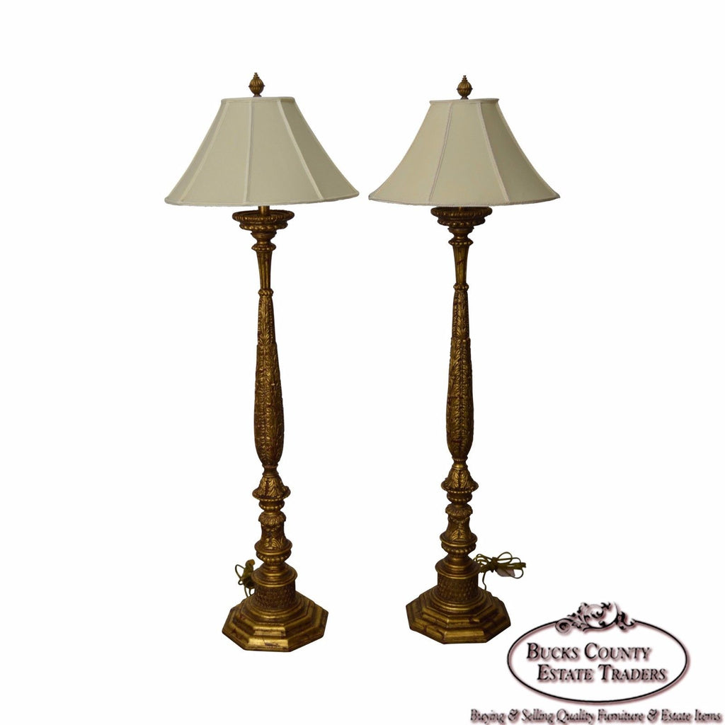 Quality Pair Of French Louis Xv Style Gilt Floor Lamps Bucks