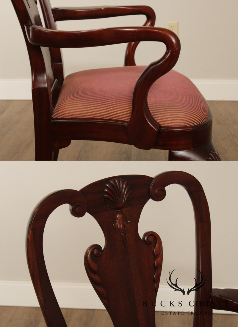 Maitland Smith Georgian Style Set 8 Solid Mahogany Dining Chairs
