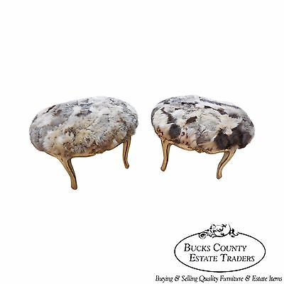 Antique Pair of French Louis XV Style Painted Ottomans w/ Rabbit Fur