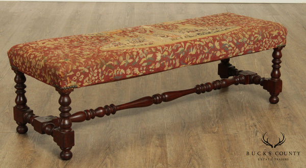 Jacobean Revival Antique Walnut Needlepoint Bench