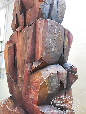 Studio Designed Large Solid Wood Rock Wall Totem Sculpture