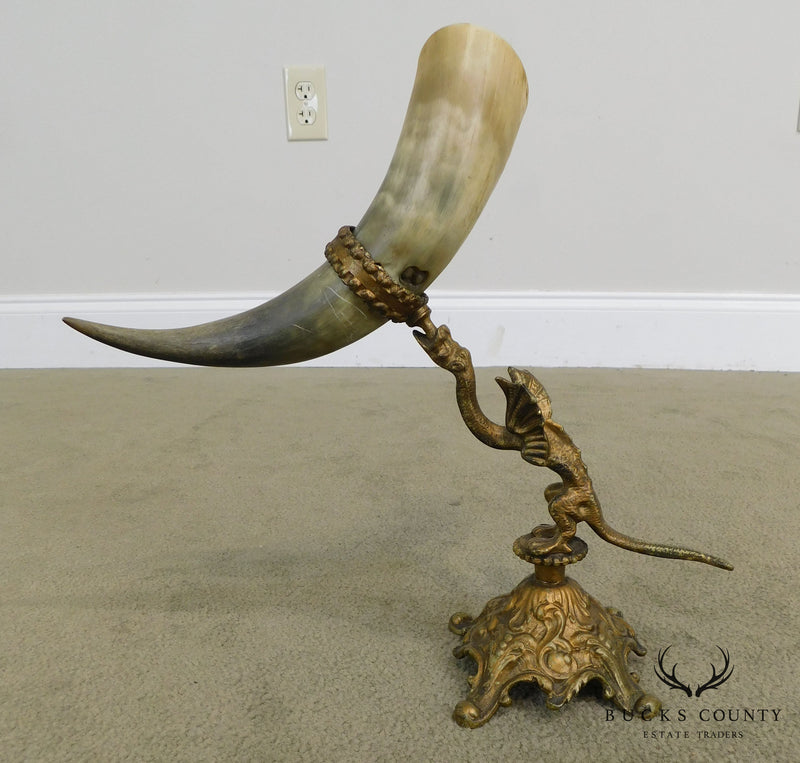 Antique Bronze Dragon Sculpture with Horn Vases